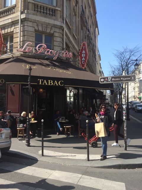 Pam in front of Le Progres, 1 Rue de Bretagne.