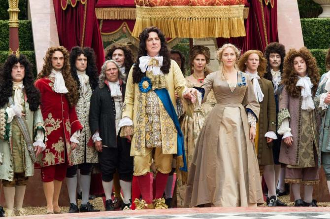 Alan Rickman as King Louis XIV and Kate Winslet as Sabine De Barra in A Little Chaos . Credit: Alex Bailey/Focus Features.