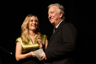 "TORONTO, ON - SEPTEMBER 13:  Actress Kate Winslet (L) and actor/Director Alan Rickman attend the ""A Little Chaos"" premiere during the 2014 Toronto International Film Festival at Roy Thomson Hall on September 13, 2014 in Toronto, Canada.  (Photo by Philip Cheung/WireImage)"