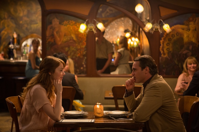 Emma Stone as Jill and Joaquin Phoenix as Abe in Irrational Man. Credit: Photo by Sabrina Lantos © 2015 Gravier Productions, Inc.; courtesy of Sony Pictures Classics.