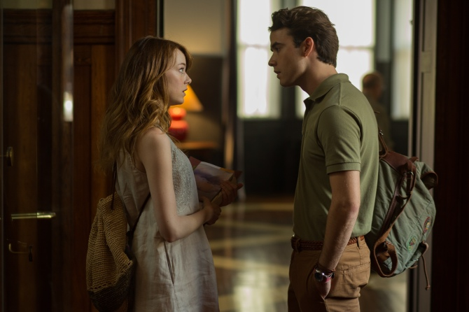 Emma Stone as Jill and Jamie Blackley as Roy in Irrational Man. Credit: Photo by Sabrina Lantos © 2015 Gravier Productions, Inc.; courtesy of Sony Pictures Classics.