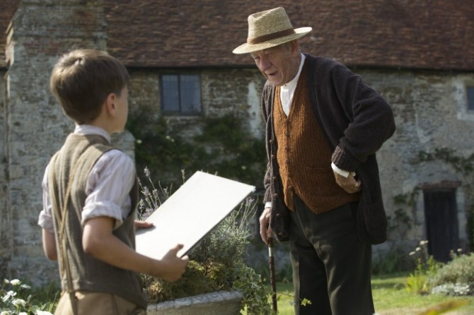 Milo Parker and Sir Ian McKellen in Mr. Holmes. Credit: Giles Keyte © Slight Trick Productions/Roadside Attractions/Miramax.
