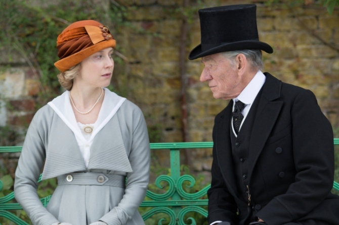 Hattie Morahan and Sir Ian McKellen in Mr. Holmes. Credit: Giles Keyte © Slight Trick Productions/Roadside Attractions/Miramax.