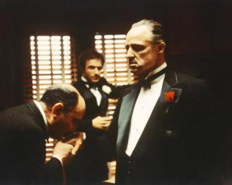 Salvatore Corsitto as Bonasera, James Caan as Santino 'Sonny' Corleone and Marlon Brando as Don Vito Corleone in The Godfather. Credit: Silver Screen Collection/Hulton Archive/Getty Images.