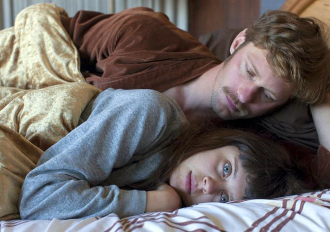 Bachelor sad: Monroe (Alexander Skarsgård) beds Minnie (Bel Powley) in his Scottie Ferguson-like apartment in The Diary of a Teenage Girl.