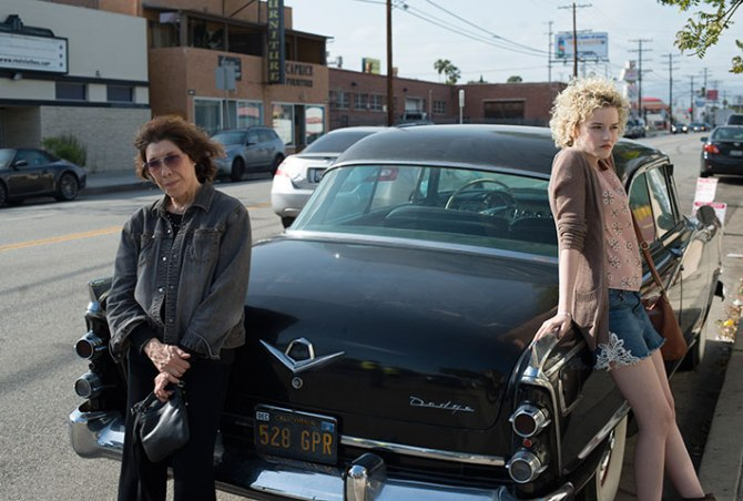Lily Tomlin as Elle and Julia Garner as Sage in Grandma. Credit: Sony Pictures Classics.