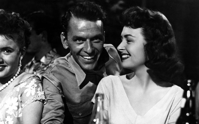 Sinatra's smile: Ol' Blue Eyes with Donna Reed in From Here to Eternity.