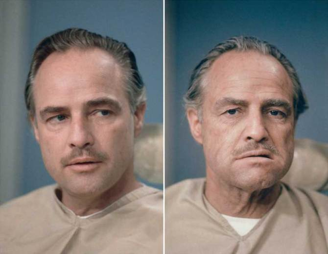 Marlon Brando in and out of makeup during the shooting of The Godfather.