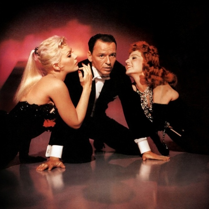 This charming rat: Sinatra flanked by Kim Novak and Rita Hayworth in Pal Joey.
