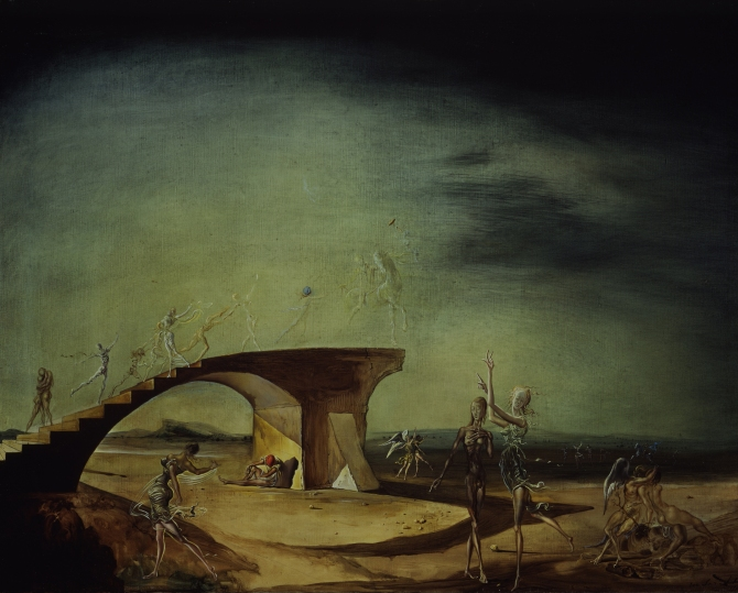 Salvador Dalí, The Broken Bridge and the Dream (1945). (© Salvador Dalí. Fundació Gala-Salvador Dalí, [Artists Rights Society (ARS)], 2015. Collection of The Dalí Museum, Inc. St. Petersburg, FL, 2015.)
