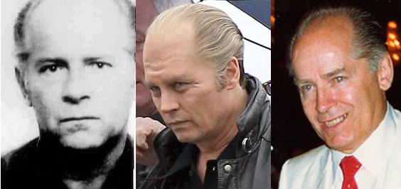 Johnny Depp (center) as Whitey Bulger (L & R)