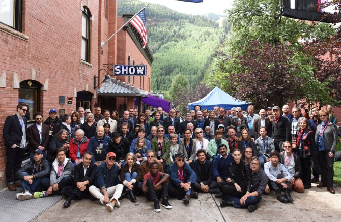 The film artists gather for the 2015 Camp Telluride photo; (Photo: Vivien Killilea, gettyimages)