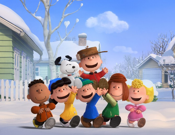 The Peanuts gang (Franklin, Lucy, Linus, Peppermint Patty and Sally) revel in a snow day. Photo credit: Twentieth Century Fox & Peanuts Worldwide LLC