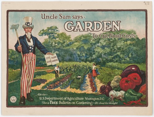 "Poster, ""Uncle Sam Says-Garden To Cut Food Costs"" circa 1925 Record Group 287 Still Pictures Identifier: 287-PA1.32:G16 ARC Identifier: 541773 Rediscovery Identifier: 13168"