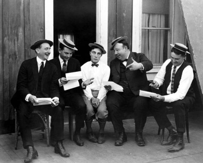 Buster Keaton and his gag men: Joe Mitchell, Clyde Bruckman, Keaton, Jean Havez, and Eddie Cline.