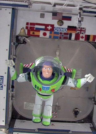 Buzz Lightyear actually floating in space (Courtesy NASA)
