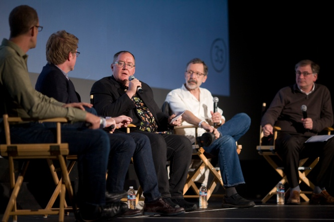 (left to right) Pete Docter, Andrew Stanton, John Lasseter, Ed Catmull and moderator Noah Cowan. Photo by Pamela Gentile / SFFS.