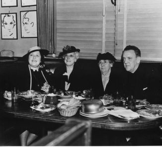 Louella Parsons (left) dining at the Brown Derby.