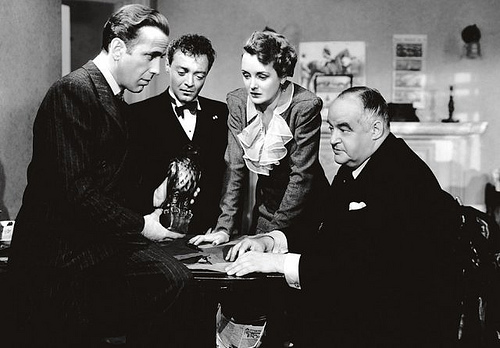Sam Spade (Humphrey Bogart), Joel Cairo (Peter Lorre), Bridgit Shaughnessy (Mary Astor), and Caspar Gutman (Sidney Greenstreet) and the stuff dreams are made of.