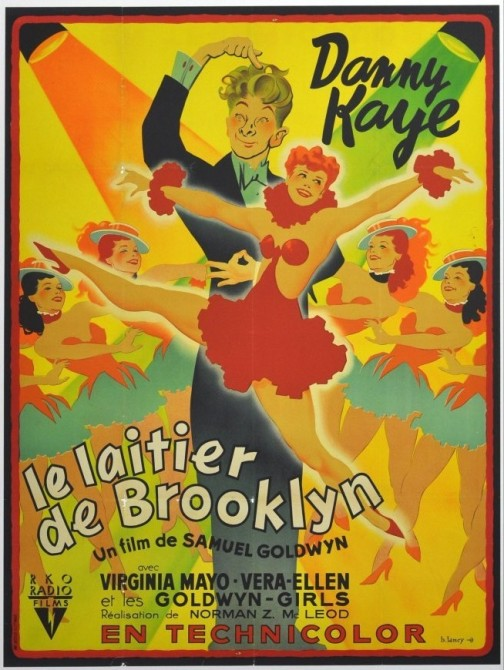 Toulouse-Lautrec inspired Bernard Lancy for the colorful French poster for The Kid From Brooklyn.