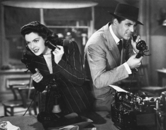 Cary Grant and Rosalind Russell in His Girl Friday, 1940. Scanned by Nitrate Diva (nitratediva.wordpress.com).