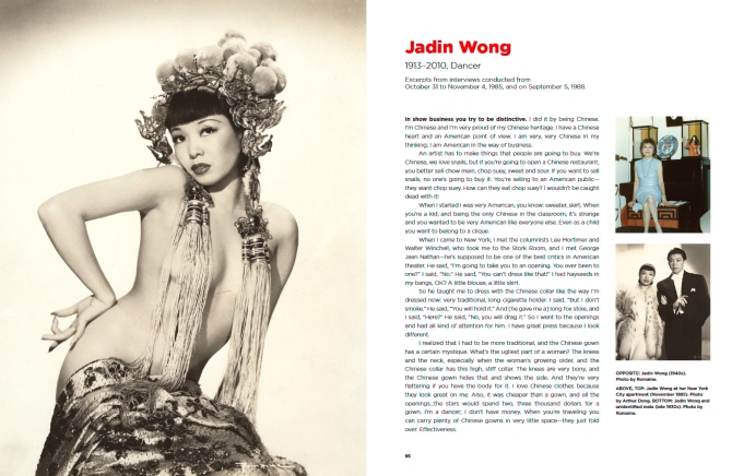 Pages on Jadin Wong from the book Forbidden City, USA: Chinese American Nightclubs, 1936-1970. Credit: Courtesy DeepFocus Productions, Inc.]