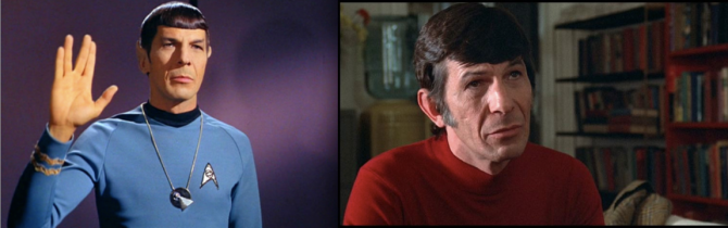 Two faces: Leonard Nimoy as Spock on Star Trek and as Dr. Kibner in Philip Kaufman's Invasion of the Body Snatchers .