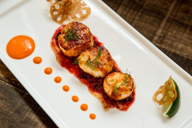 Seared Scallops w/roasted pepper chutney, lotus root, mixed berry & chile relish. Photo Credit: Aubrie Pick