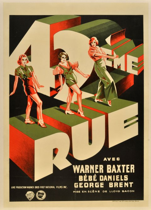 """The sharp, spunky granddaddy of all backstage musicals... [Busby Berkeley's] choreography takes center stage in this stunning Belgian poster, showcasing his dancers atop and within the three-dimensional title treatment. An art deco knockout,"" writes Mike Kaplan."