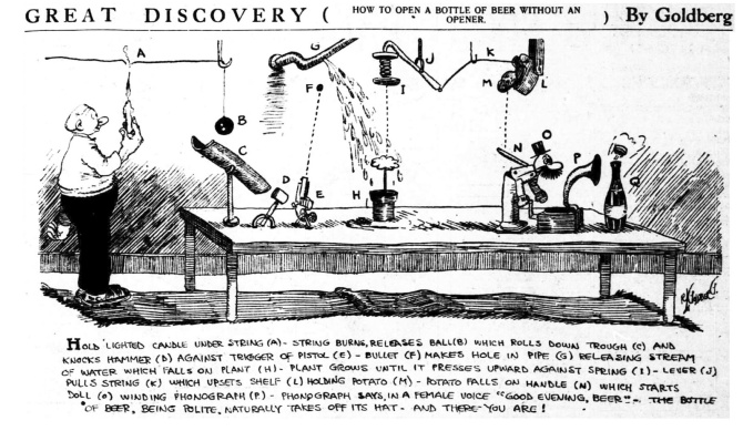 1913 December 18 Rube Goldberg machine cartoon beer bottle opener.jpg
